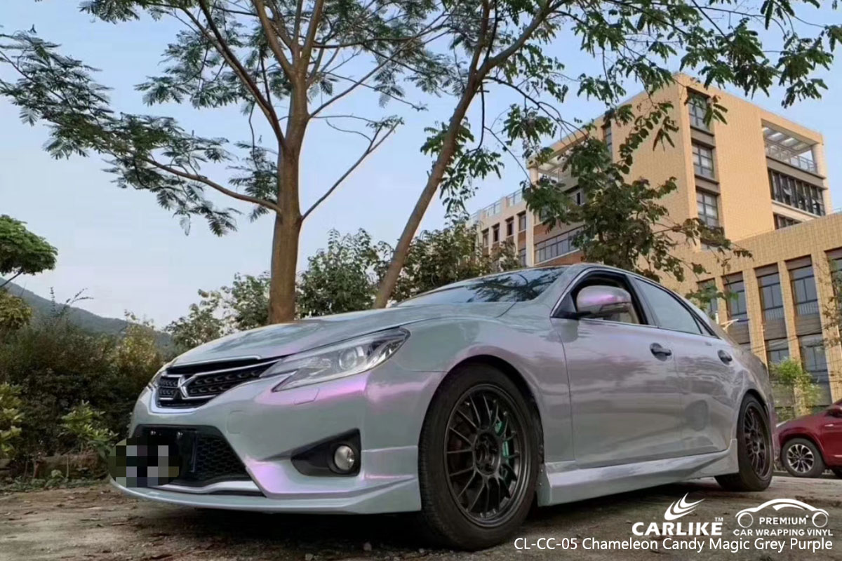 CARLIKE CL-CC-05 chameleon candy magic grey purple car wrap vinyl for MARK X