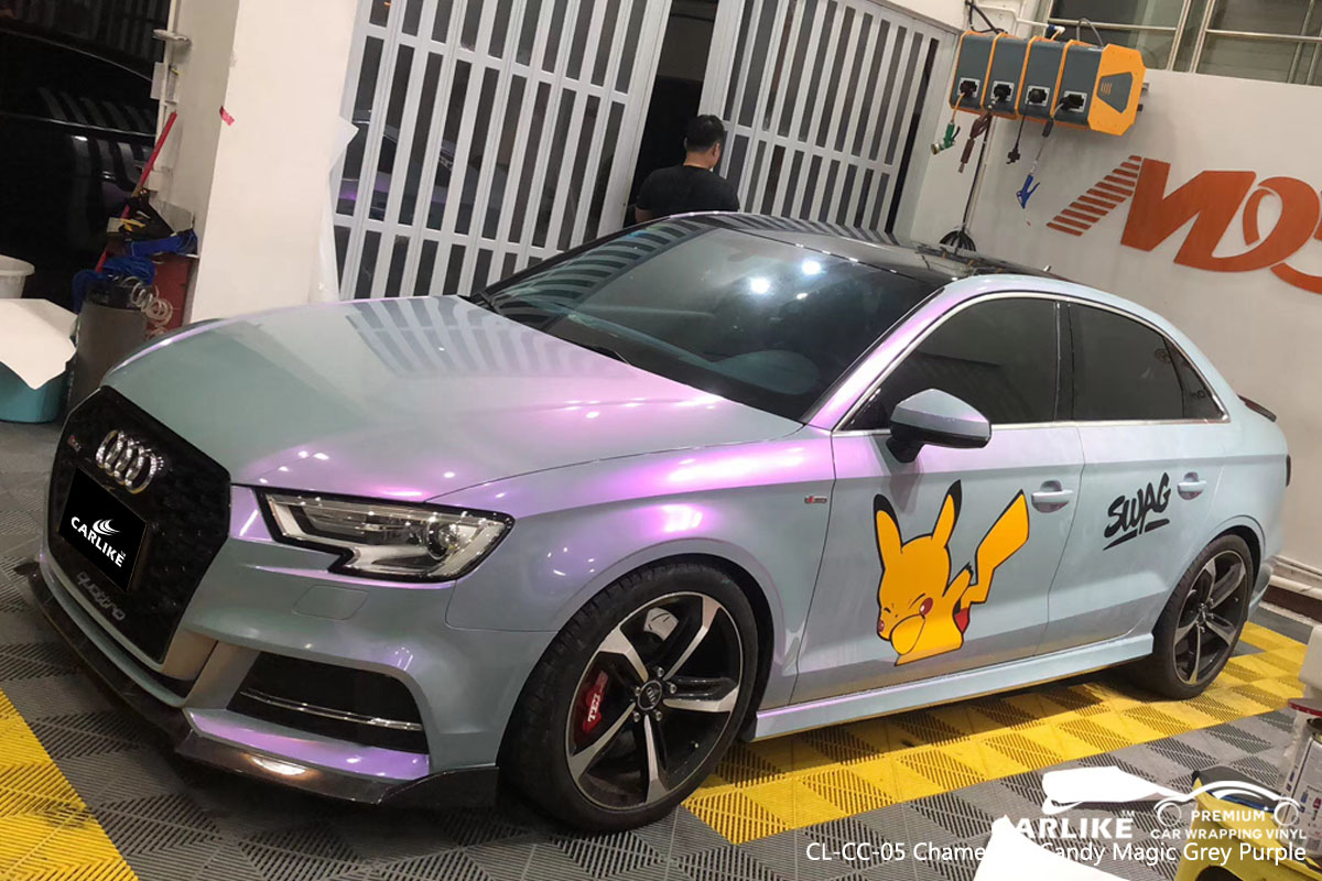 CARLIKE CL-CC-05 chameleon candy magic grey purple car wrap vinyl for Audi