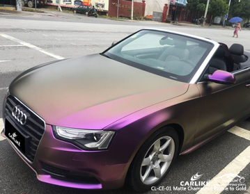 CARLIKE CL-CE-01 Vinilo envolvente de camaleón púrpura a dorado para Audi