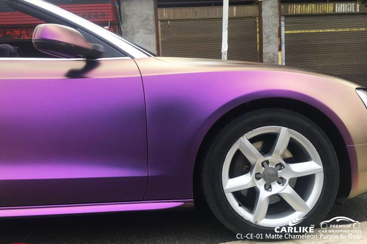 CARLIKE CL-CE-01 matte chameleon purple to gold car wrap vinyl for Audi