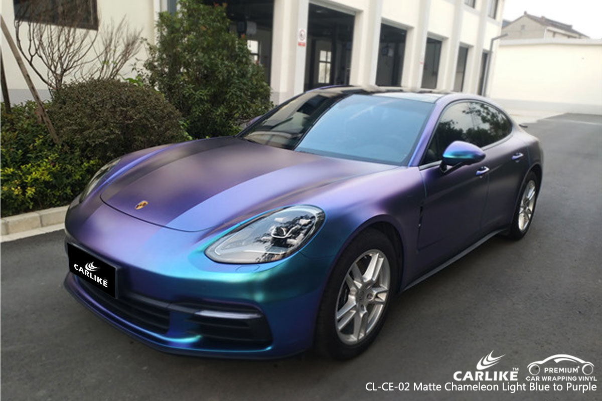 CARLIKE CL-CE-02 matte chameleon light blue to purple car wrap vinyl for Porsche
