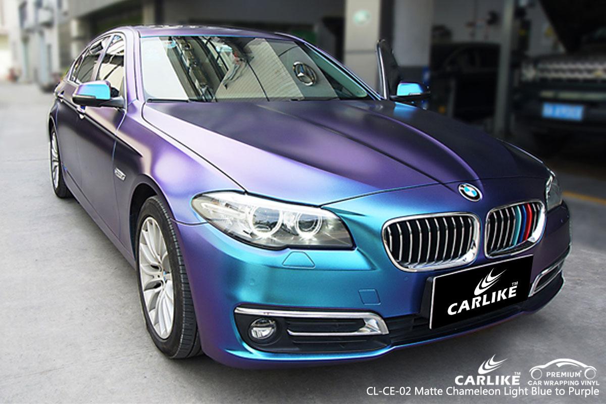 CARLIKE CL-CE-02 matte chameleon light blue to purple car wrap vinyl for BMW