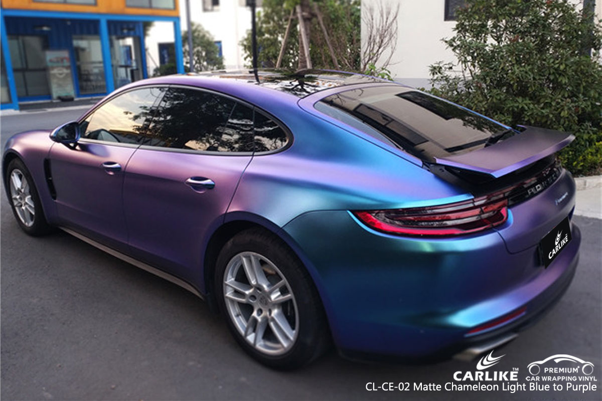 CARLIKE CL-CE-02 matte chameleon light blue to purple car wrap vinyl for BMW