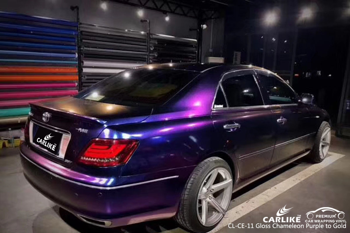 CARLIKE CL-CE-11 gloss chameleon purple to gold car wrap vinyl for Toyota