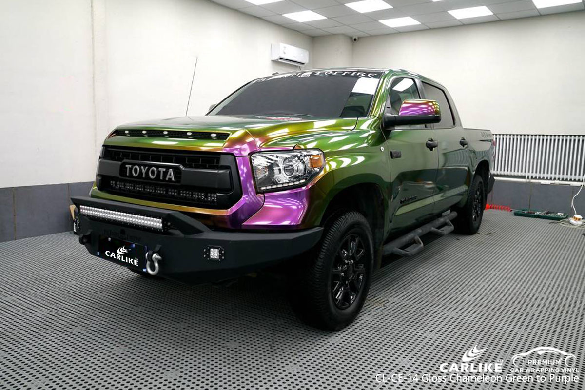 CARLIKE CL-CE-14 gloss chameleon green to purple car wrap vinyl for Toyota