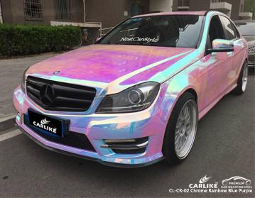 CARLIKE CL-CR-02 vinil roxo azul do envoltório do carro do arco-íris do cromo para Mercedes-Benz