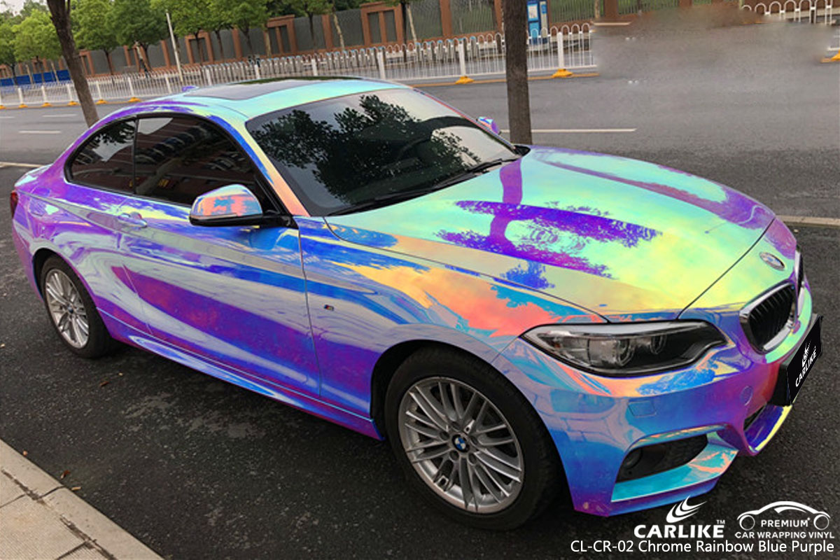CARLIKE CL-CR-02 chrome rainbow blue purple car wrap vinyl for BMW