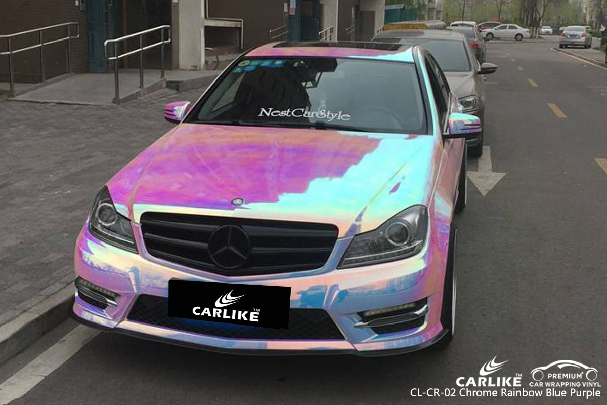 CARLIKE CL-CR-02 chrome rainbow blue purple car wrap vinyl for Mercedes-Benz