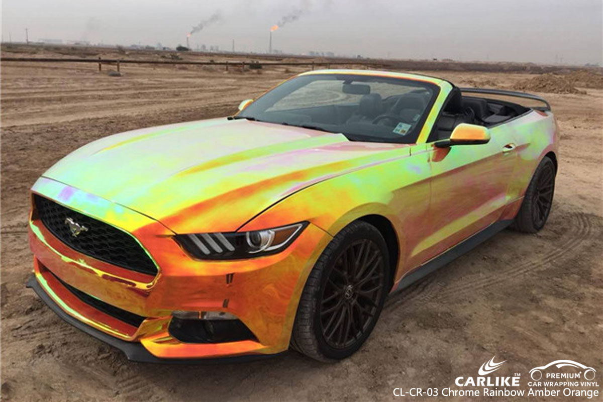 CARLIKE CL-CR-03 chrome rainbow amber orange car wrap vinyl for Mustang