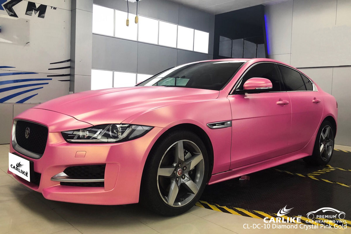 CARLIKE CL-DC-10 diamond crystal pink gold car wrap vinyl for Jaguar