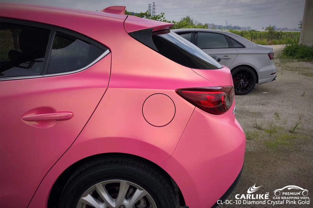 CARLIKE CL-DC-10 diamond crystal pink gold car wrap vinyl for Mazda