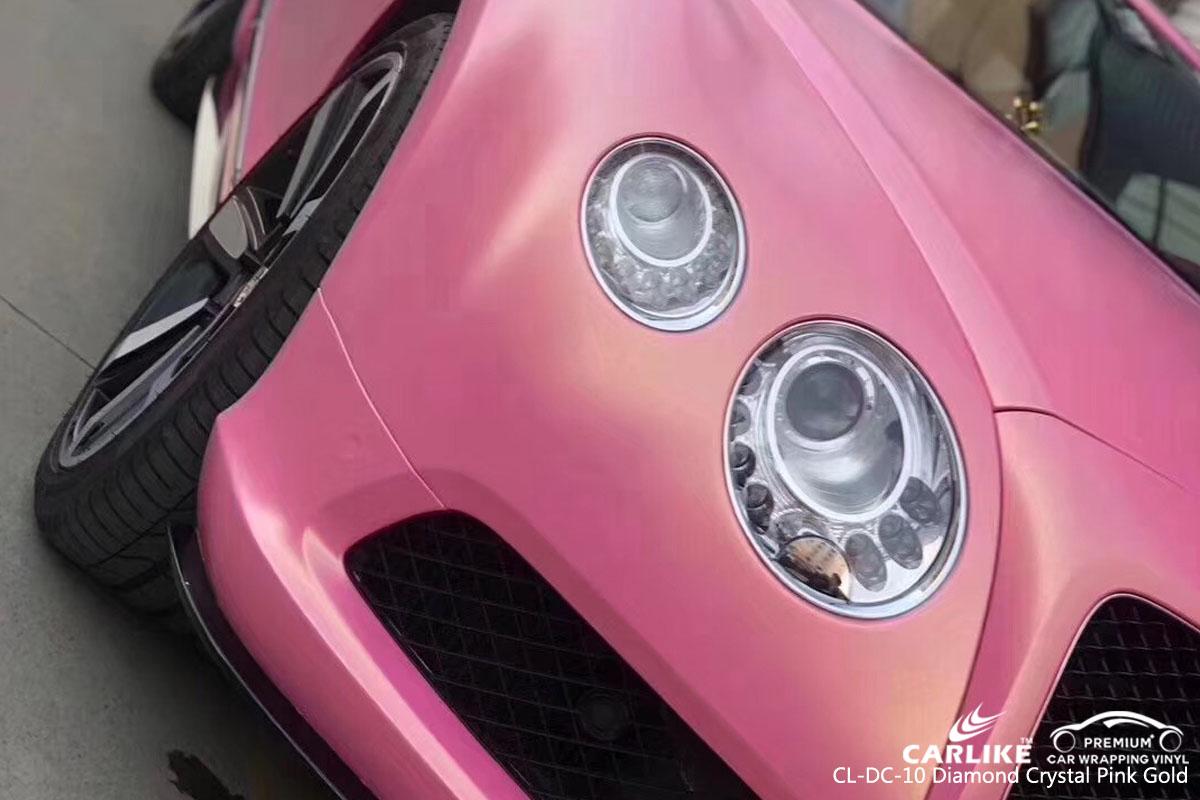 CARLIKE CL-DC-10 diamond crystal pink gold car wrap vinyl for Bentley
