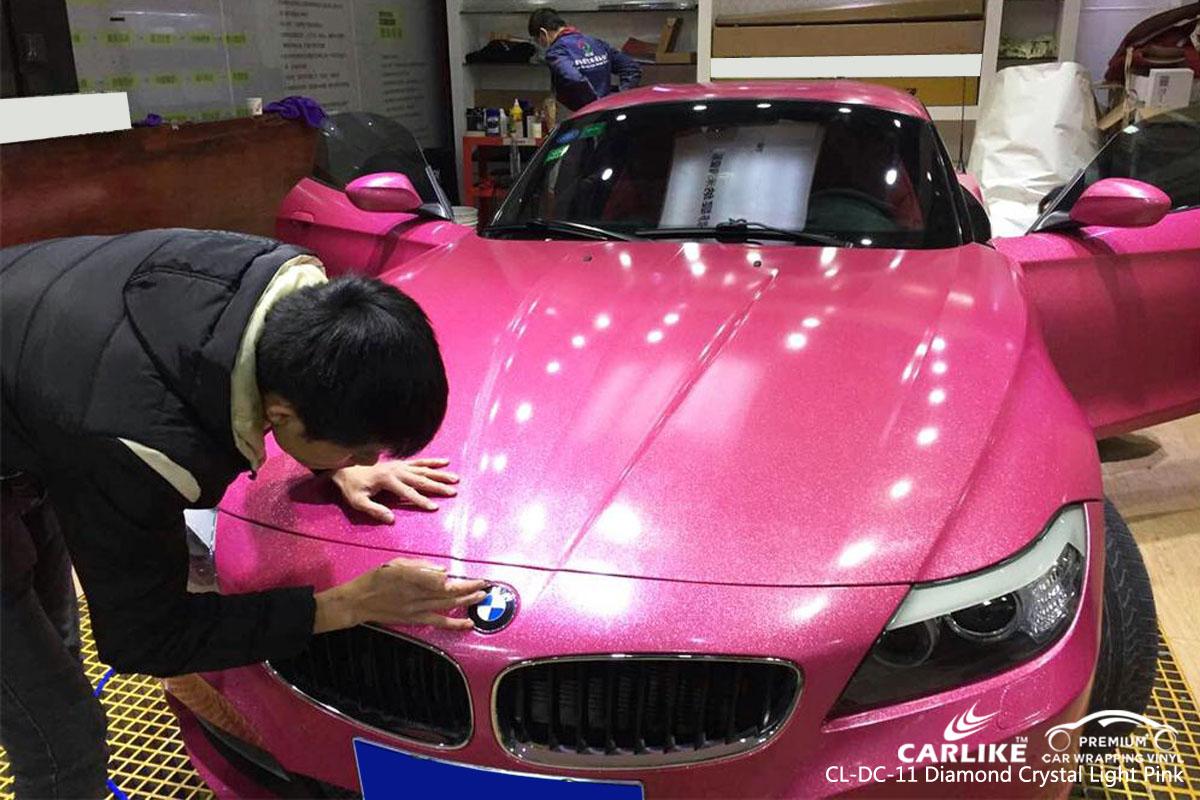 CARLIKE CL-DC-11 diamond crystal light pink car wrap vinyl for BMW