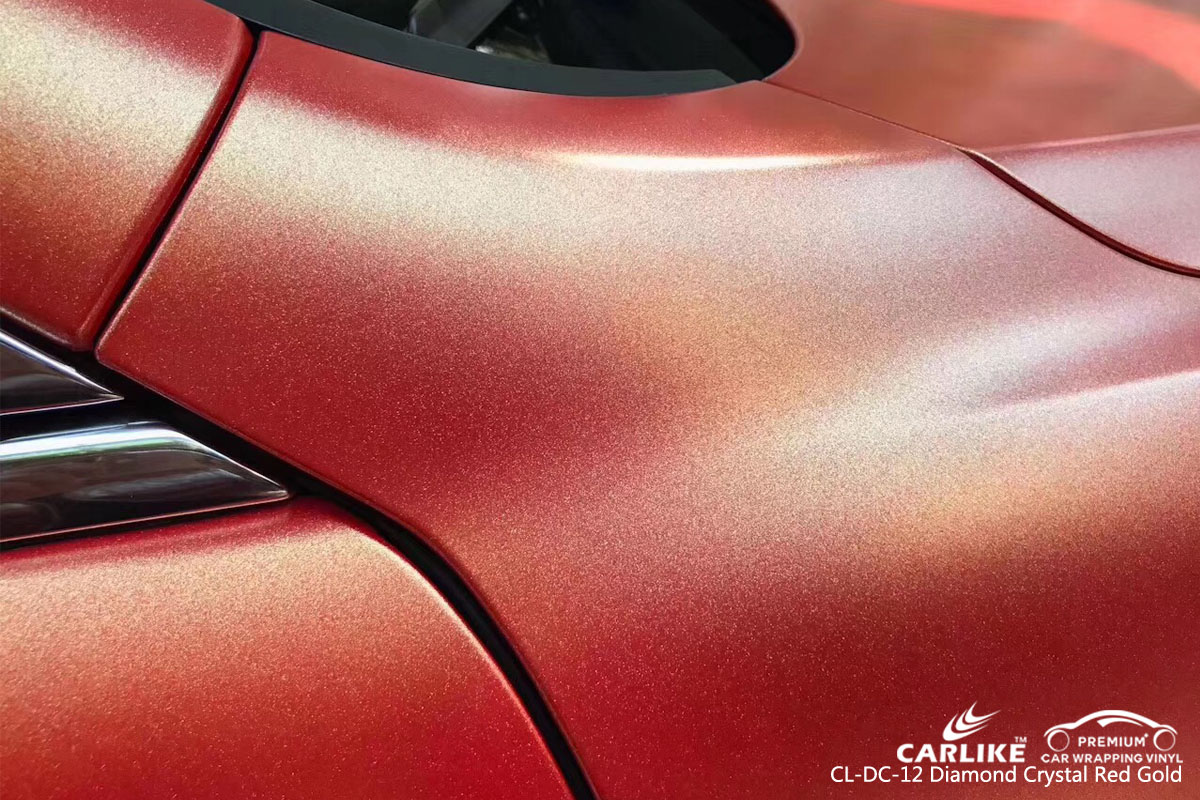 CARLIKE CL-DC-12 diamond crystal red gold car wrap vinyl for Maserati
