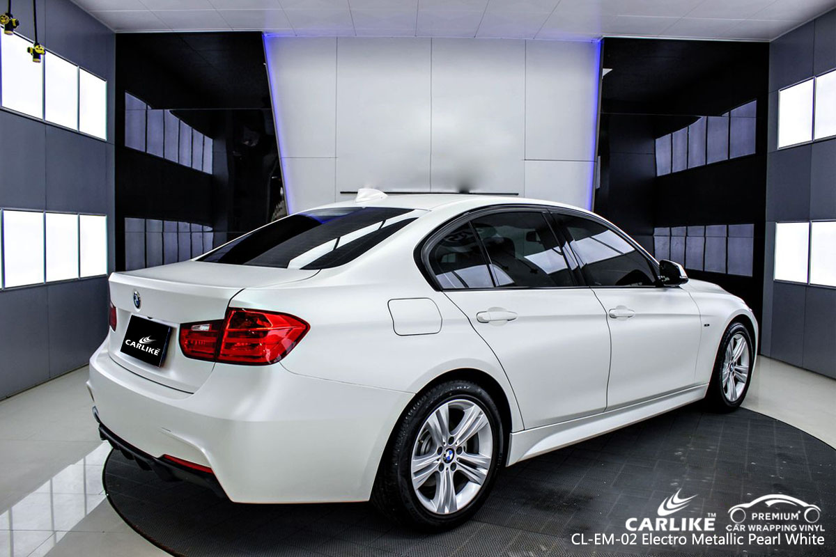 CARLIKE CL-EM-02 electro metallic pearl white car wrap vinyl for BMW