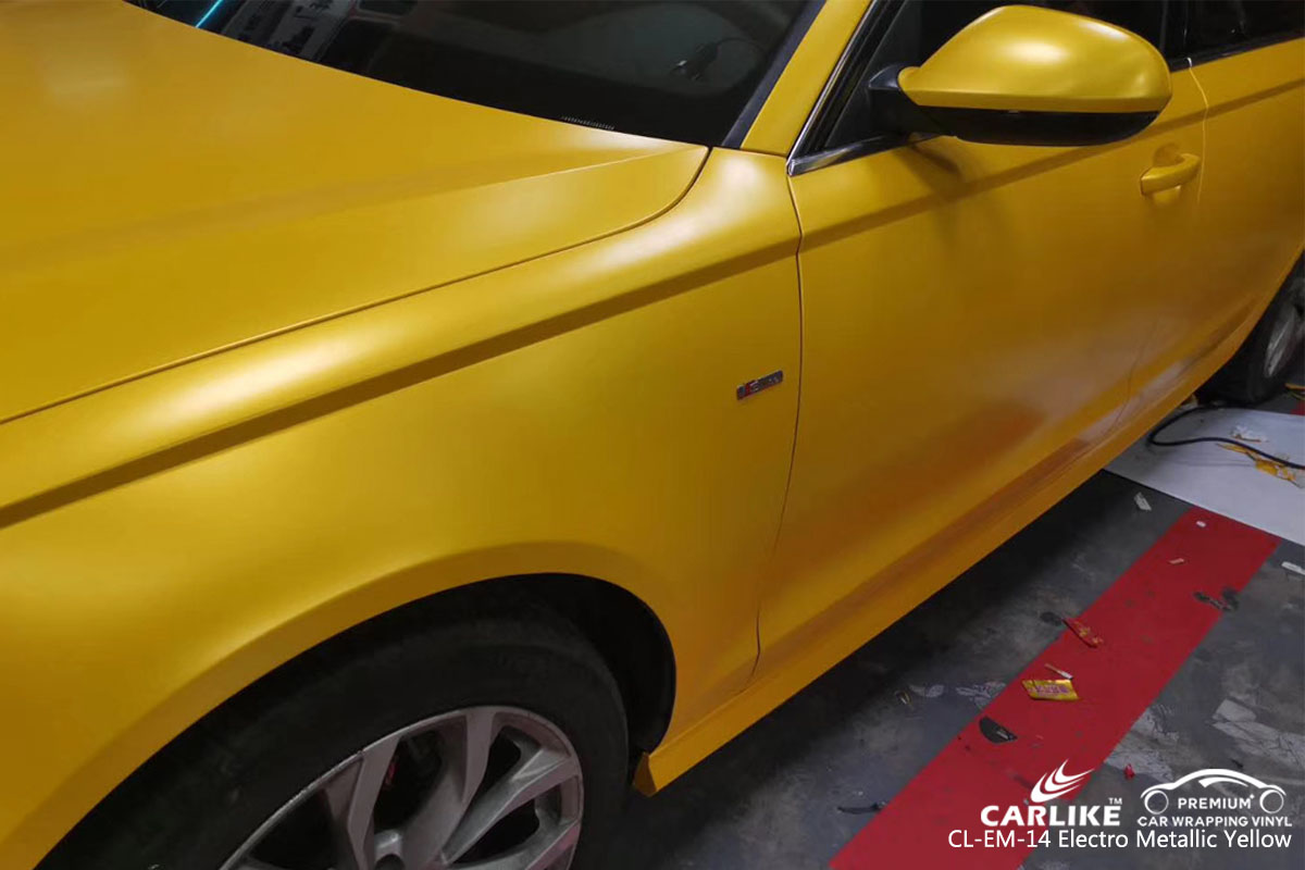 CARLIKE CL-EM-14 electro metallic yellow car wrapping vinyl for Audi