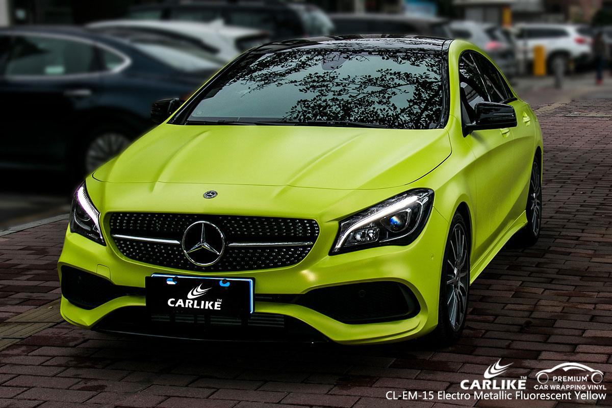 CARLIKE CL-EM-15 electro metallic fluorescent yellow car wrap vinyl for Mercedes-Benz