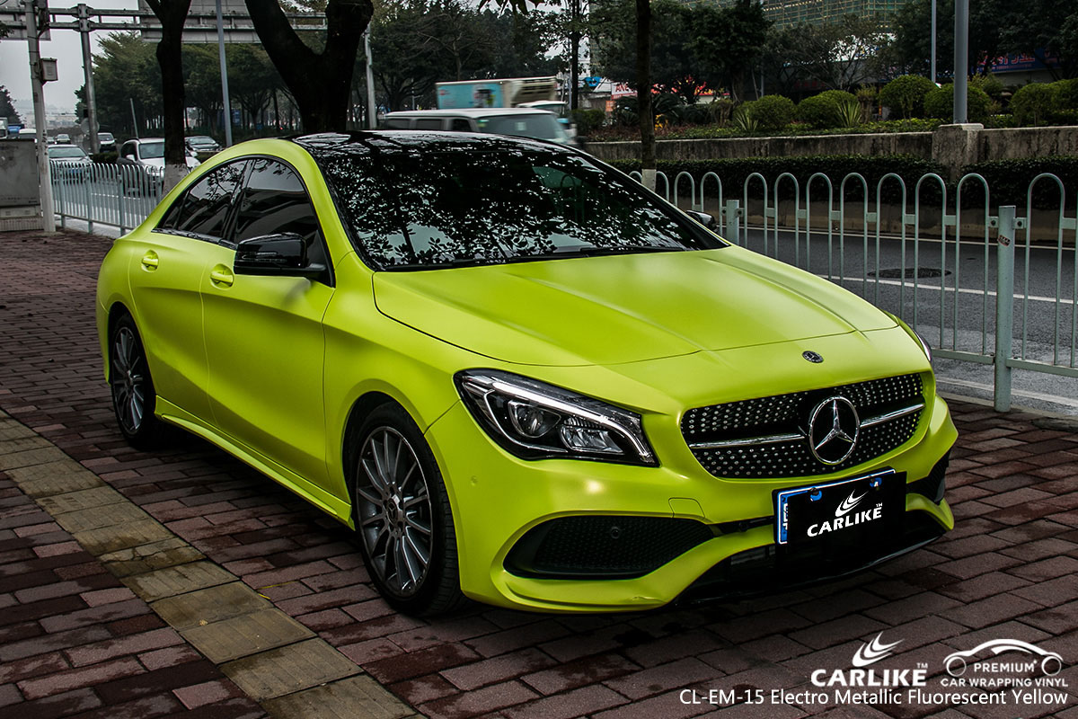 CARLIKE CL-EM-15 electro metallic fluorescent yellow car wrap vinyl for Mercedes-Benz