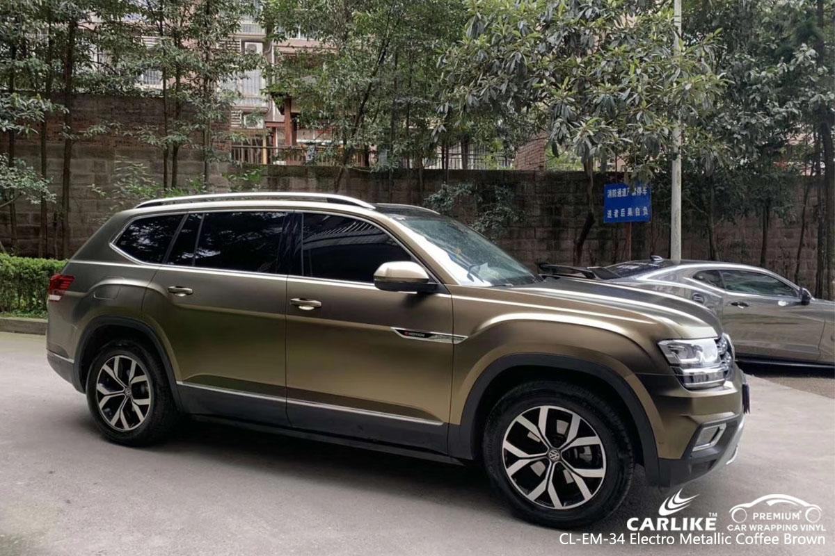 CARLIKE CL-EM-34 electro metallic coffee brown car wrap vinyl for Volkswagen