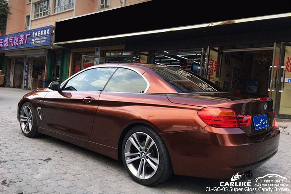 CARLIKE CL-GC-05 super gloss candy brown car wrap vinyl for BMW