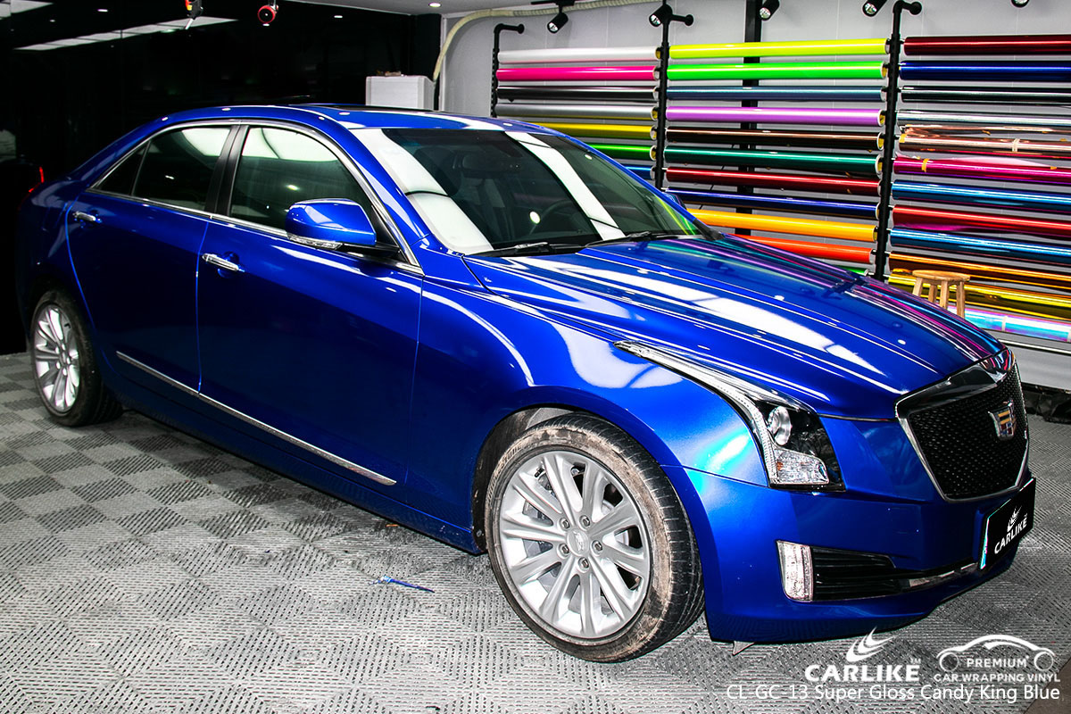 CARLIKE CL-GC-13 super gloss candy king blue car wrap vinyl for Cadillac