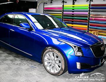 CARLIKE CL-GC-13 vinil do envoltório do carro do azul do rei super dos doces do brilho para Cadillac
