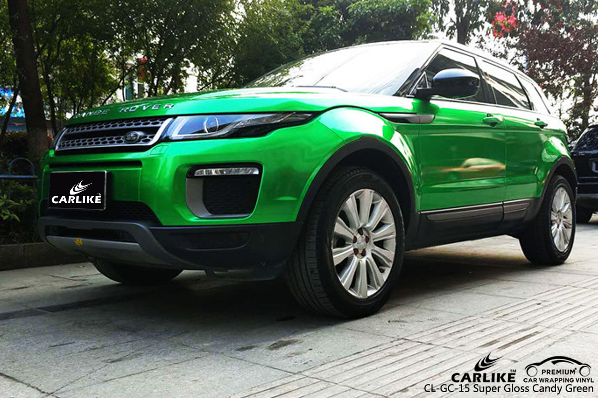 CARLIKE CL-GC-15 super gloss candy green car wrap vinyl for Land Rover