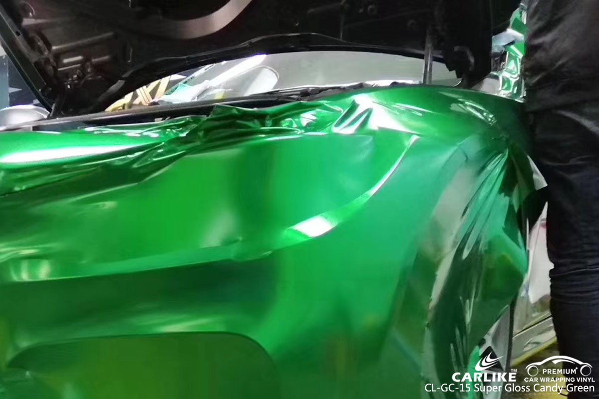 CARLIKE CL-GC-15 super gloss candy green car wrap vinyl for BMW