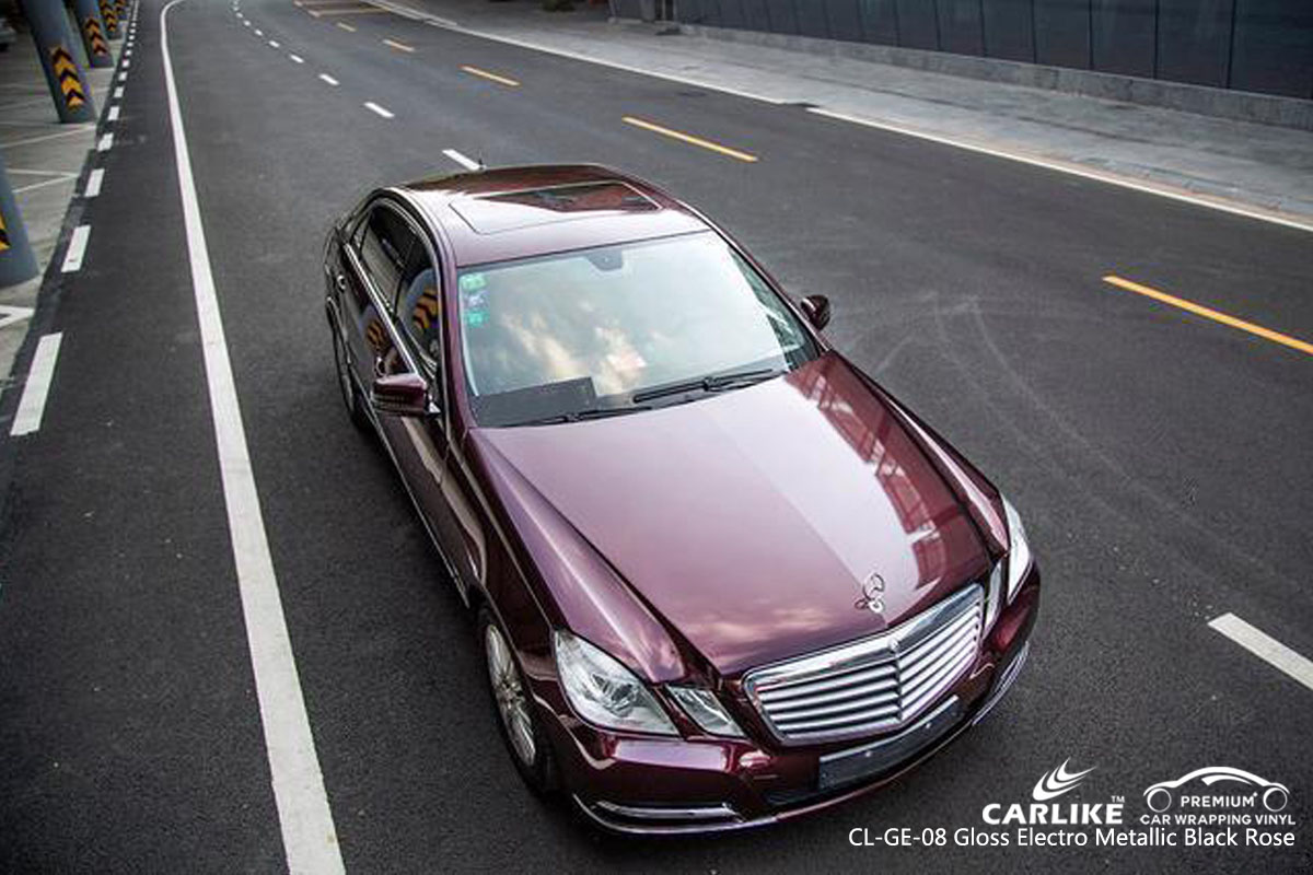 CARLIKE CL-GE-08 gloss electro metallic black rose car wrapping vinyl for Mercedes Benz