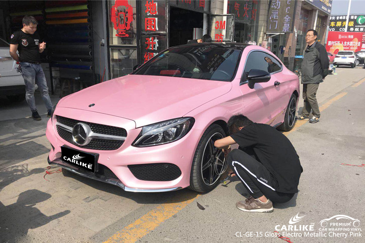 CARLIKE CL-GE-15 gloss electro metallic cherry pink car wrap vinyl for Mercedes-Benz