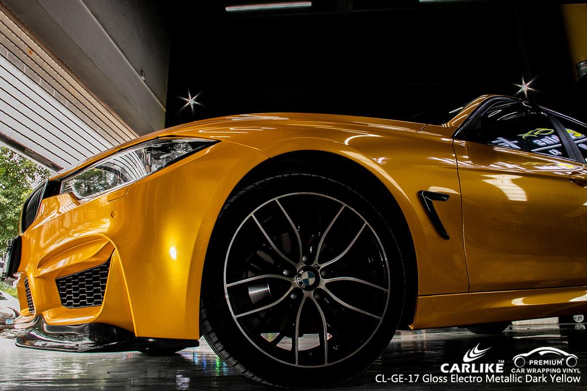 CARLIKE CL-GE-17 gloss electro metallic dark yellow car wrap vinyl for BMW