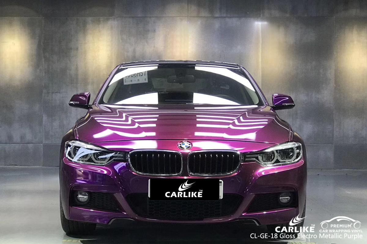 CARLIKE CL-GE-18 gloss electro metallic purple car wrap vinyl for BMW