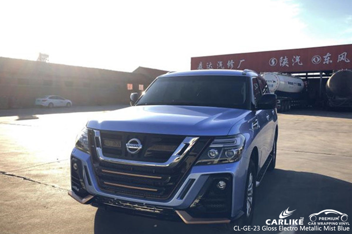 CARLIKE CL-GE-23 gloss electro metallic mist blue car wrap vinyl for Nissan