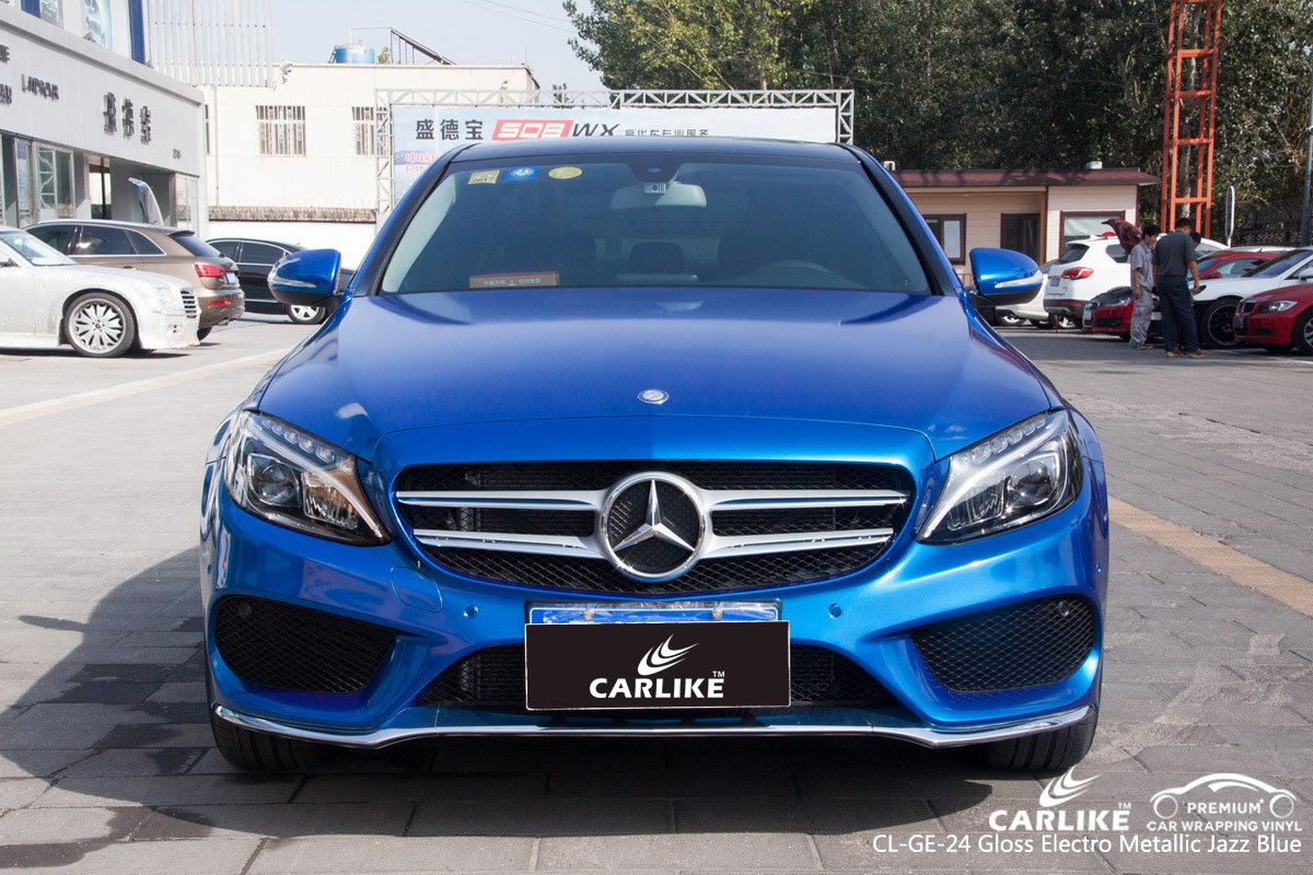 CARLIKE CL-GE-24 gloss electro metallic jazz blue car wrap vinyl for Mercedes-Benz