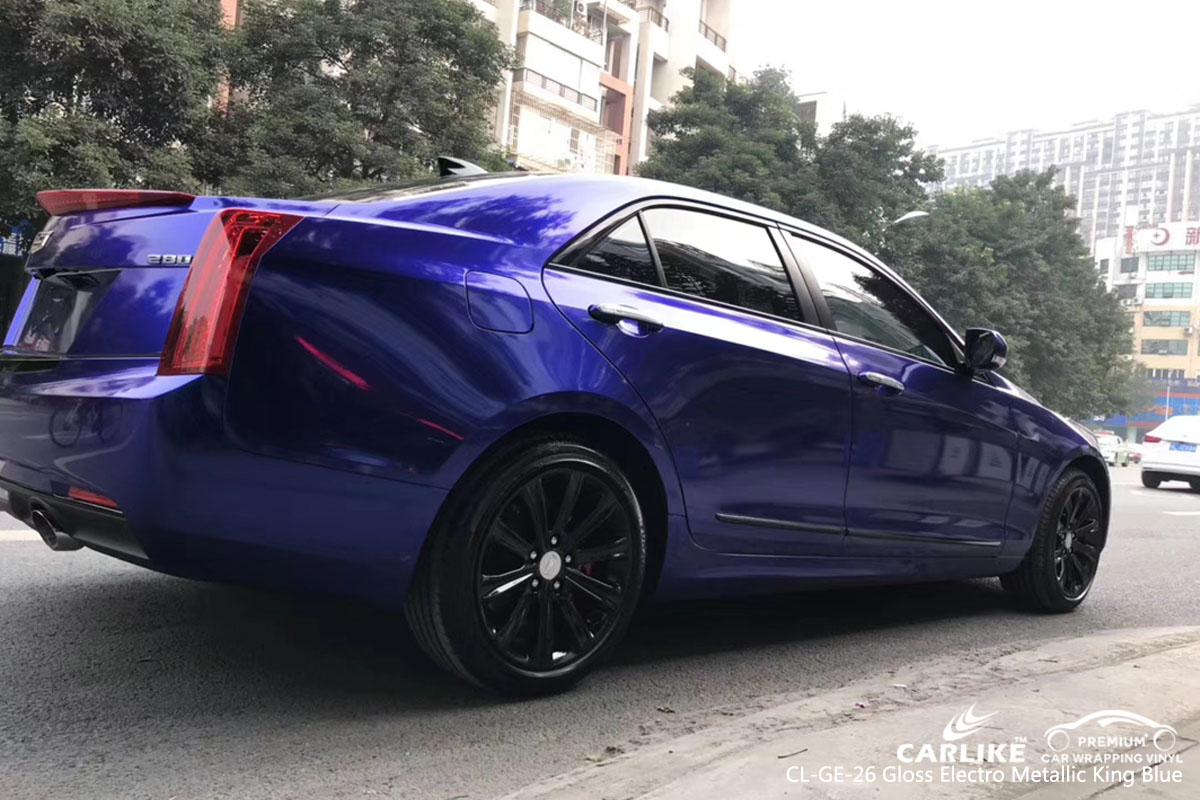 CARLIKE CL-GE-26 gloss electro metallic king blue car wrap vinyl for Cadillac