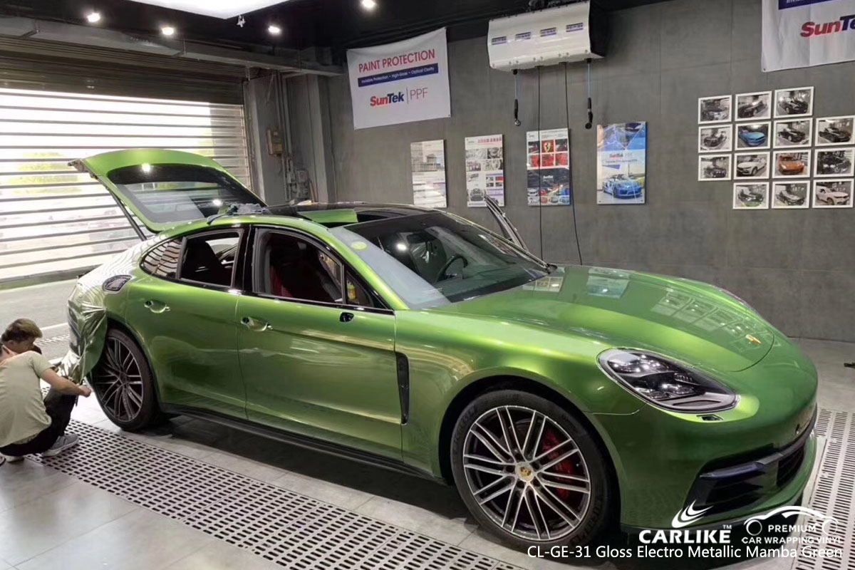 CARLIKE CL-GE-31 gloss electro metallic mamba green car wrap vinyl for BMW