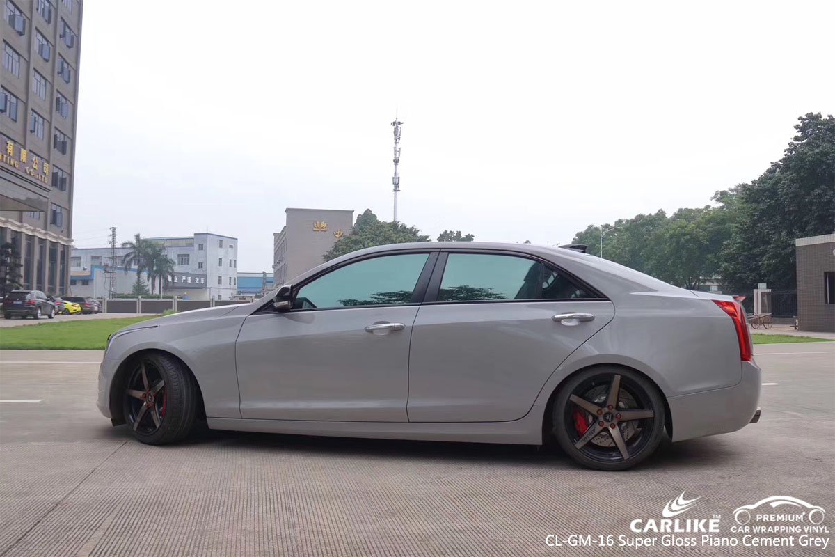 CARLIKE CL-GM-16 super gloss piano cement grey car wrap vinyl for Cadillac