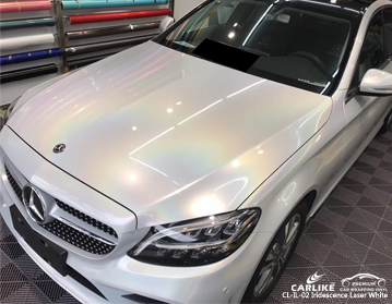CARLIKE CL-IL-02 iridescence laser white car wrap vinyl for Mercedes-Benz