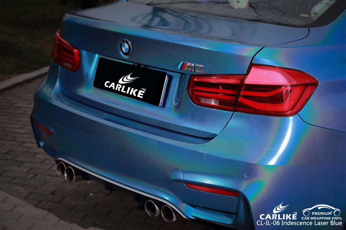 CARLIKE CL-IL-06 iridescence laser blue car wrapping vinyl for BMW