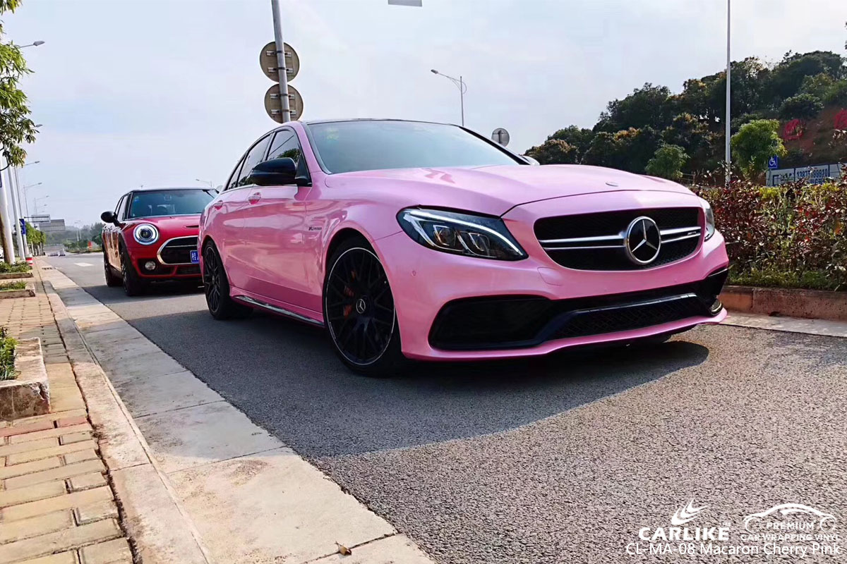 CARLIKE CL-MA-08 macaron cherry pink car wrap vinyl for Mercedes-Benz