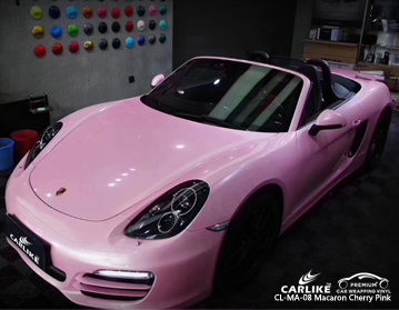 CARLIKE CL-MA-08 macaron cherry pink car wrapping vinyl for Porsche
