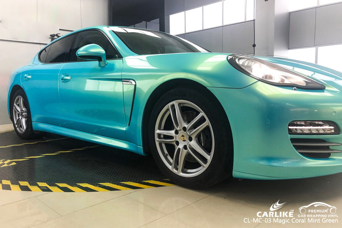 CARLIKE CL-MC-03 magic coral mint green car wrap vinyl for Porsche