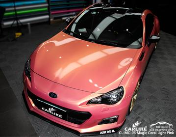 CARLIKE CL-MC-05 vinil cor-de-rosa coral do envoltório do carro da luz mágica para Subaru