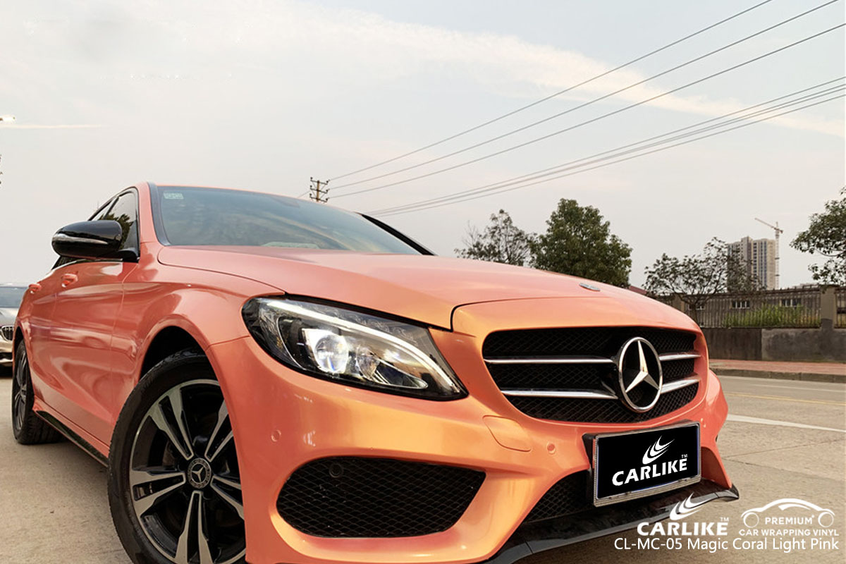 CARLIKE CL-MC-05 magic coral light pink car wrap vinyl for Mercedes-Benz