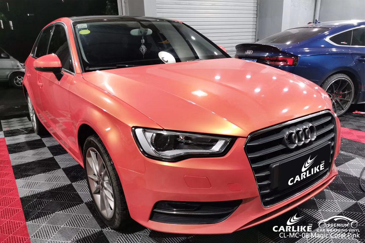 CARLIKE CL-MC-08 magic coral pink car wrap vinyl for Audi
