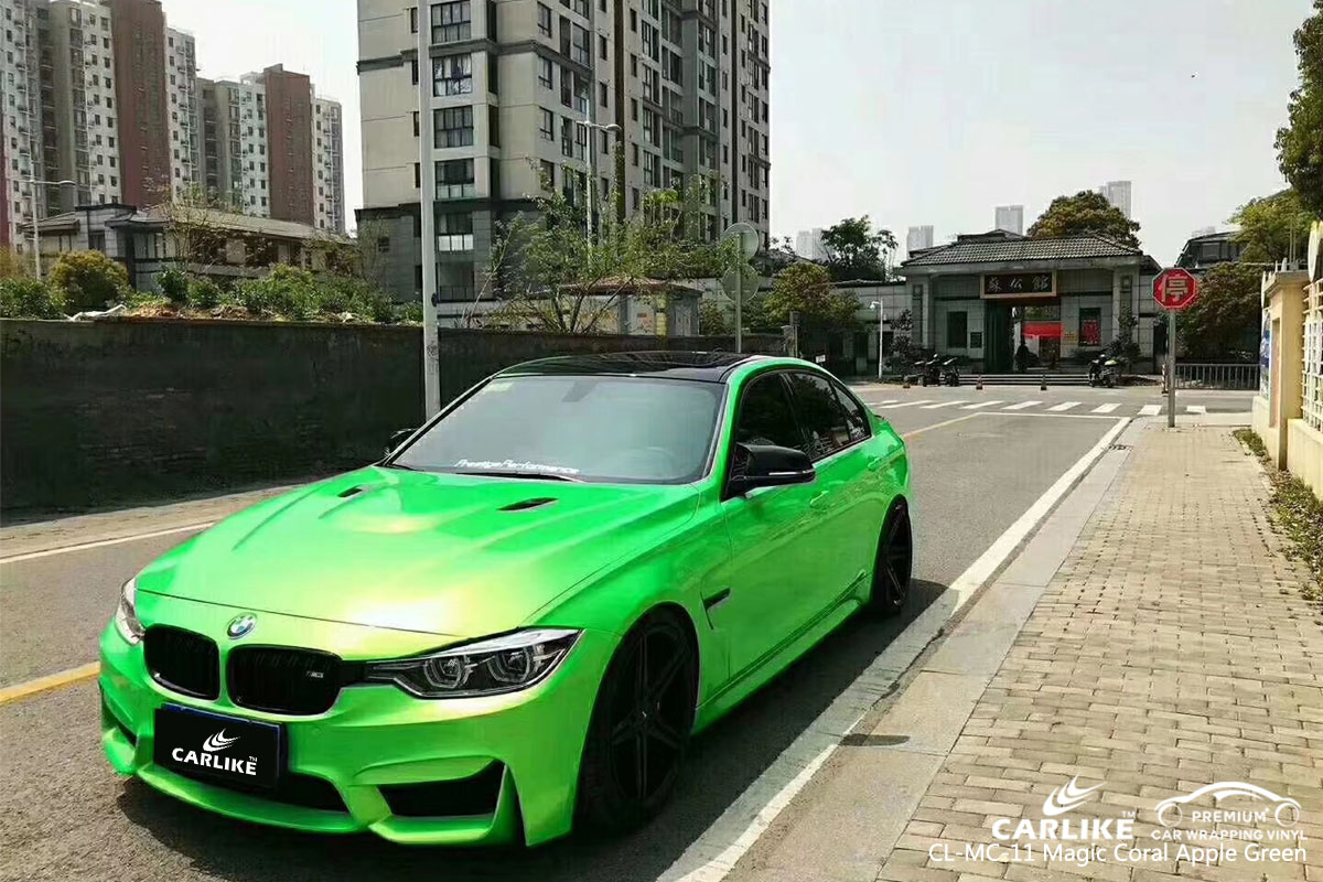 CARLIKE CL-MC-11 magic coral apple green car wrap vinyl for BMW