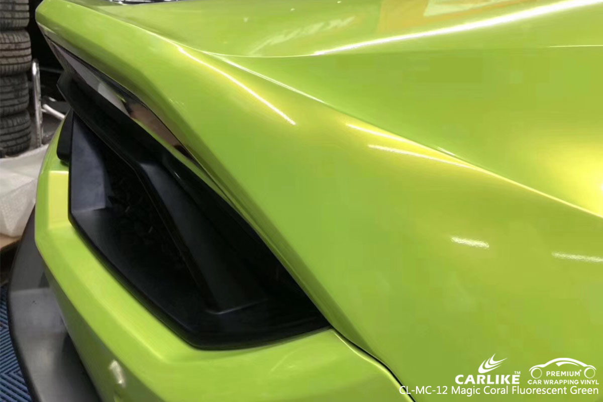 CARLIKE CL-MC-12 magic coral fluorescent green car wrap vinyl for Lamborghini