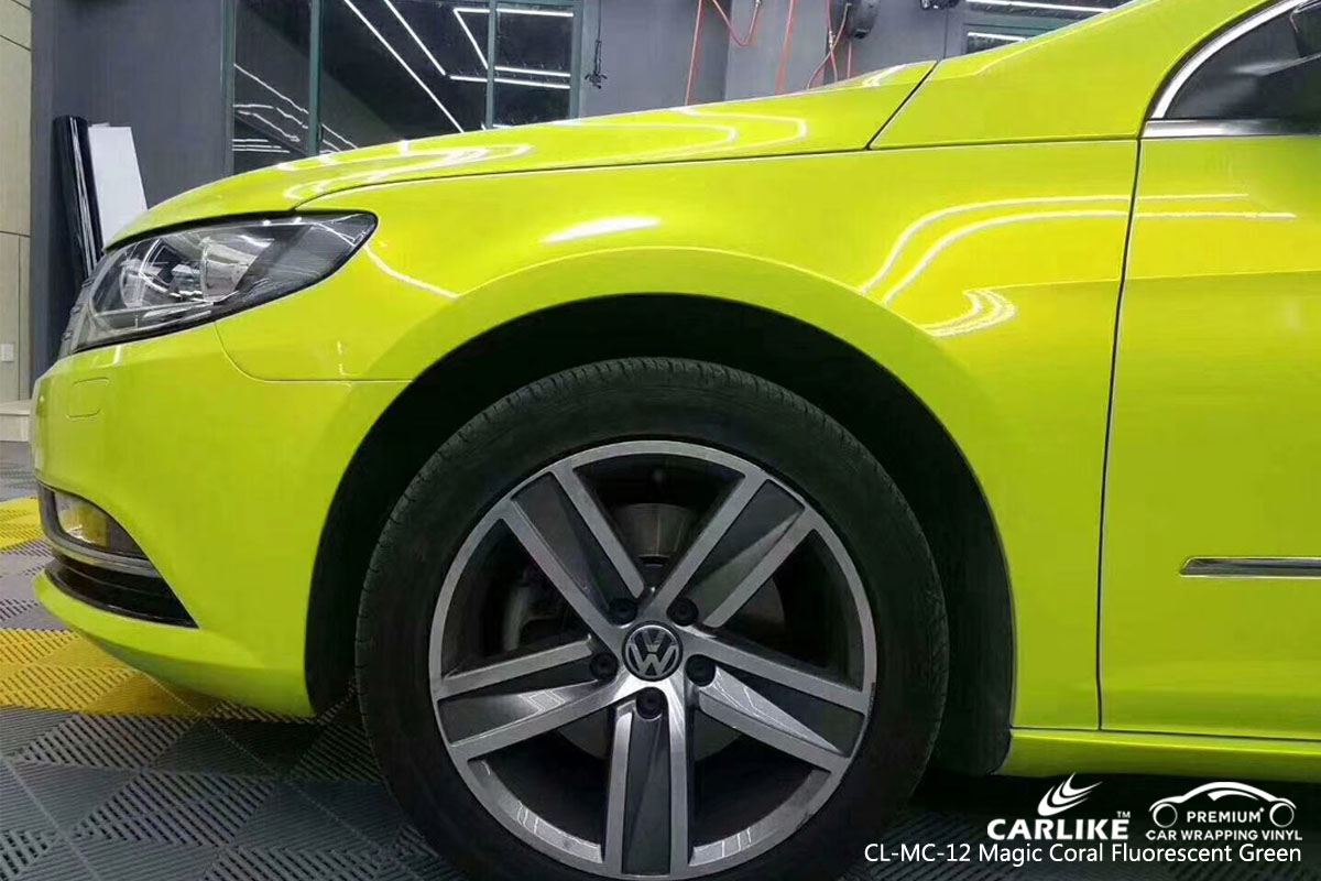 CARLIKE CL-MC-12 magic coral fluorescent green car wrap vinyl for Volkswagen