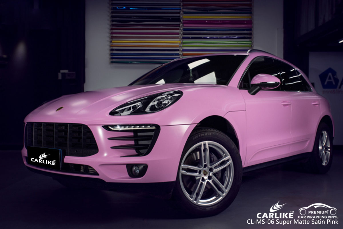 CARLIKE CL-MS-06 super matte satin pink car wrap vinyl for Porsche