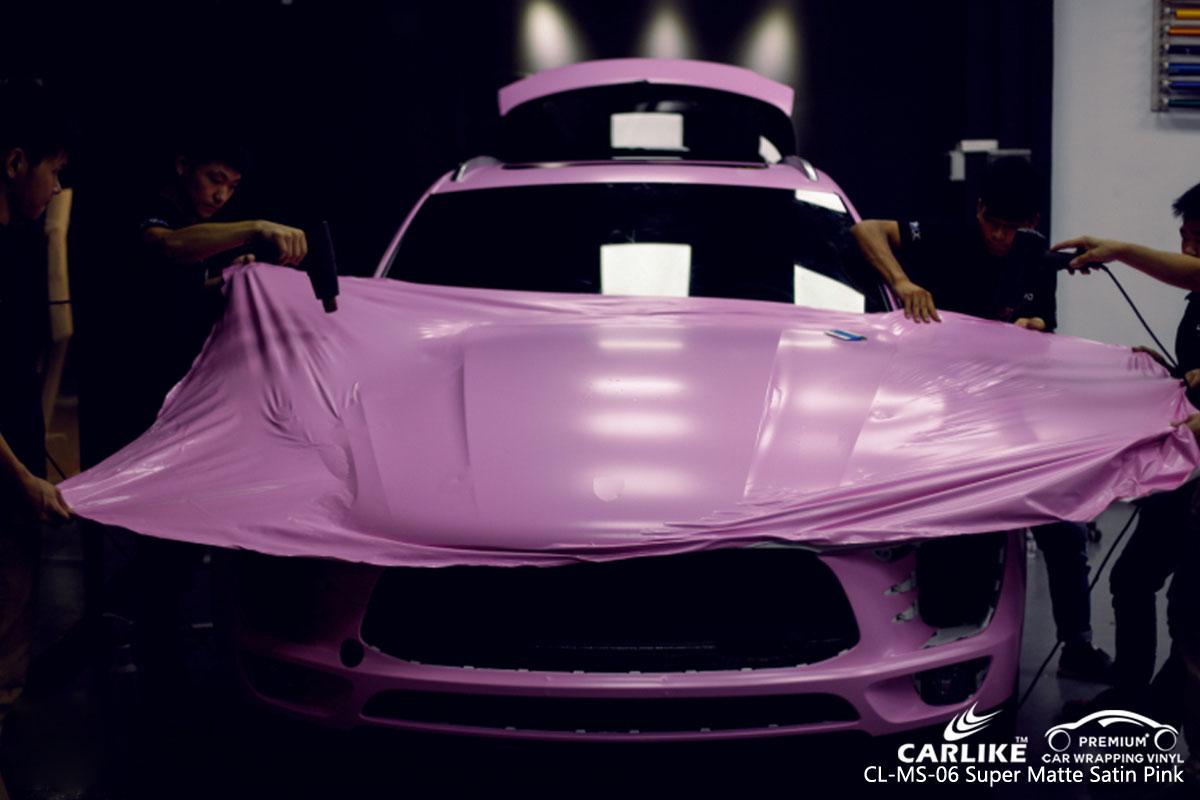 CARLIKE CL-MS-06 super matte satin pink car wrap vinyl for Porsche